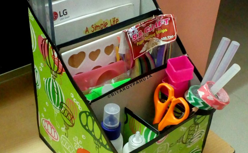 Cereal box turned Desktop organizer – from my craft's corner