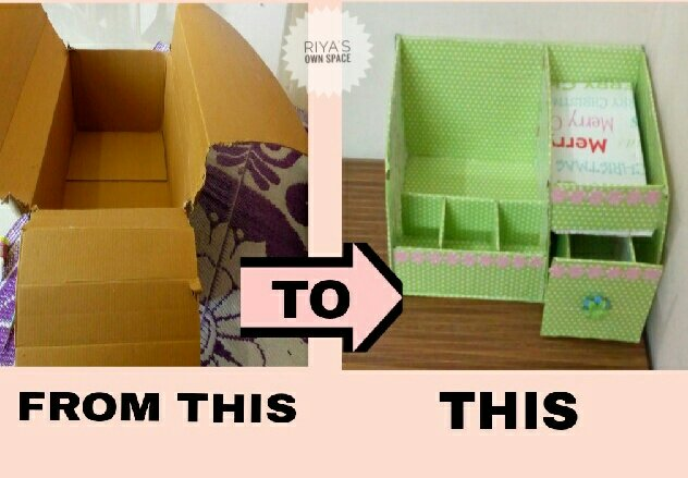 Dressing Table Organizer Diy Cardboard Craft From My Craft S
