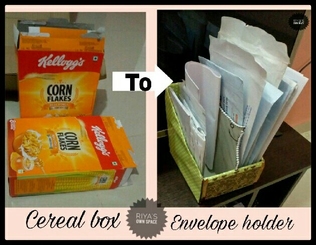 Cereal box turned paper/envelope holder/DIY ~From my craft's corner