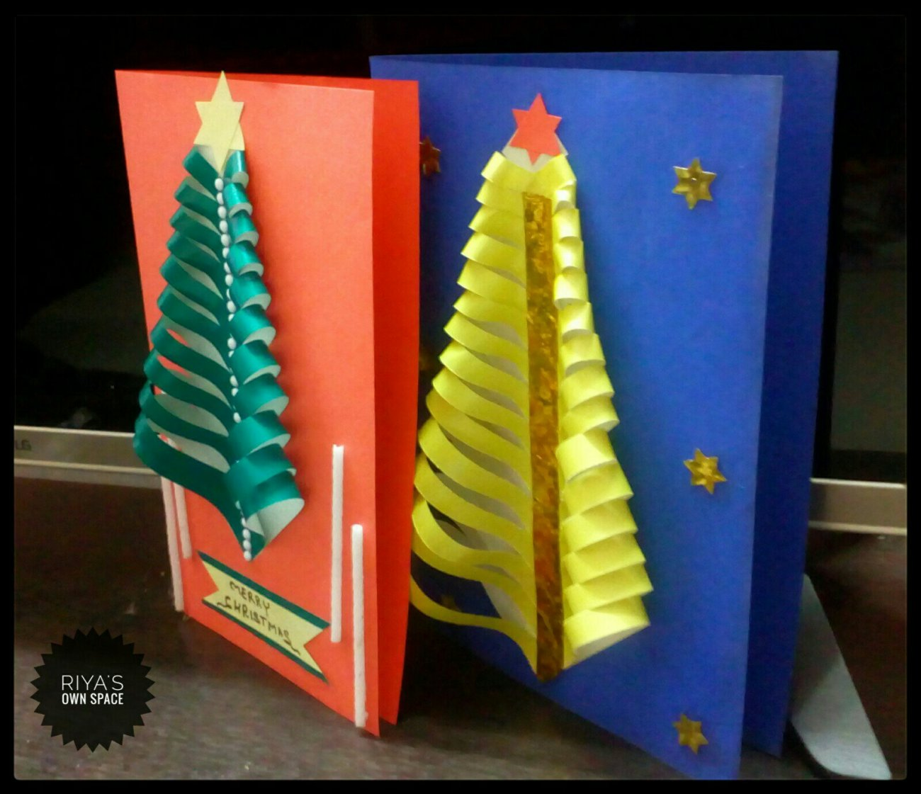 Christmas tree cards:Part 2 ~From my craft\'s corner – Riya\'s own space